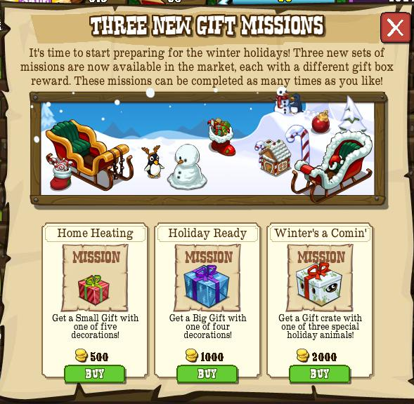 Three new Gift Missions
