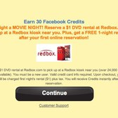 Earn 30 free Facebook Credits via Happy Pets & Redbox promotion