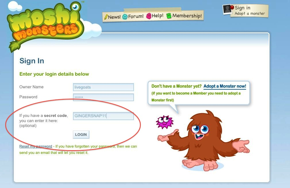 Cheat code for moshi monsters membership