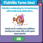 Happy Birthday FishVille: Celebrate 1 year anniversary with month-long celebration
