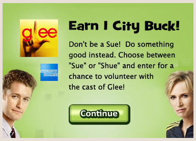 social city sue shue glee Social City Glee Promotion Free City Buck