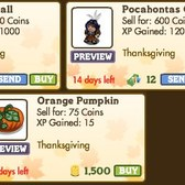New FarmVille Thanksgiving Decorations: Autumn Fall, Pocahontas Gnome, &amp; Orange Pumpkin