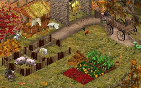 YoVille farming meats and vegetables