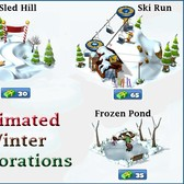 CityVille Winter Decorations: Ice Sculptures, Ski Slopes, Christmas Tree Lot, Ice Rink &amp; Much More!