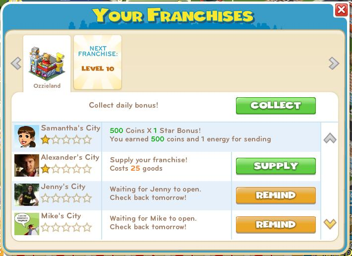 Franchise Menu