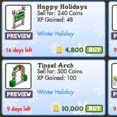 FarmVille Winter Holiday Decorations: Gingerbread Gnome, Tinsel Arch, Polar Bear Cave & More