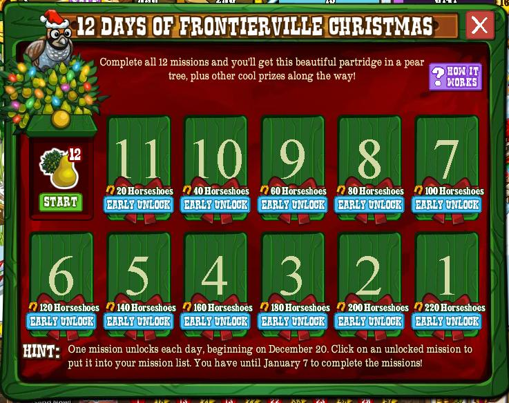 12 Days of FrontierVille Christmas