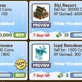 FarmVille Winter Wonderland Decorations: 50% off Dog Sled, Eskimo Gnome, Ski Resort, and more