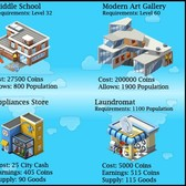 New CityVille Buildings: Middle School, Modern Art Gallery, Appliances Store, & Laundromat