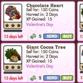 FarmVille Valentine Trees: Chocolate Heart Tree, Cocoa Tree, and new giant trees
