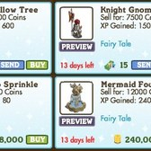 FarmVille Fairy Tale Decorations: Knight Gnome, Green Willow Tree, & More