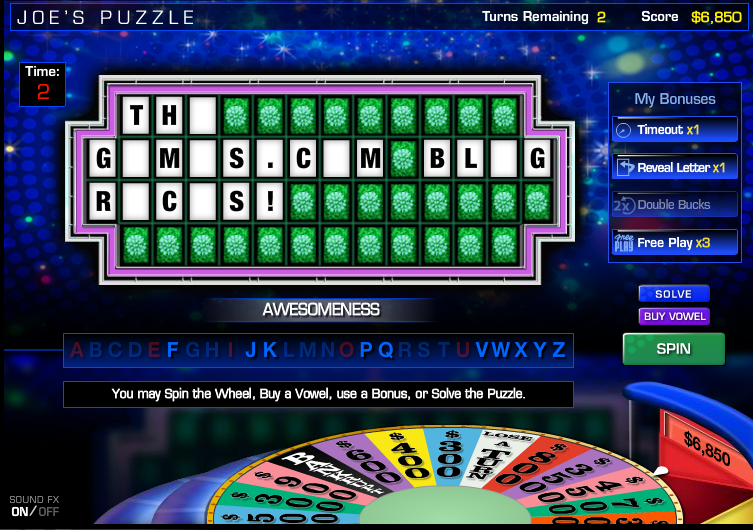 create a wheel of fortune game