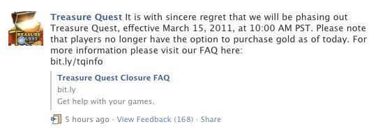 treasure quest big fish closing on facebook
