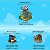 CityVille: Observatory, Music Store, & Furniture Store now available