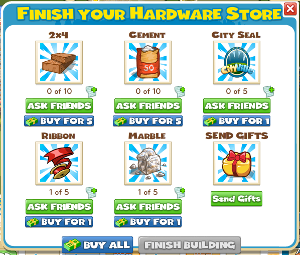 Hardware Store Build Menu