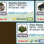 FarmVille LE English Countryside Buildings: Garden Gazebo, Tudor Cottage & Oast House