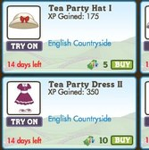 FarmVille English Countryside Avatar Clothing: Tea Party Hat I, Tea Party Dress II, &amp; more