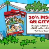 CityVille: Redeem Game Card, receive 20% extra City Cash
