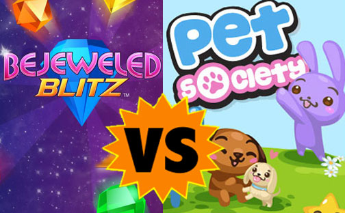 bejeweled blitz pet society facebook game showdown