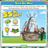 CityVille: $5 Starter Pack offering energy, coins, City Cash, and more for limited time