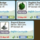 FarmVille LE English Countryside Decorations: Build a Moat, Sword Statue, Castle Bridge & More