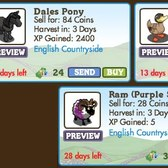 FarmVille LE English Countryside Animals: Dales Pony, Campbell Duck, & Purple Stripes Ram
