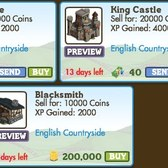 FarmVille LE English Countryside Buildings: Gatehouse, King Castle & Blacksmith