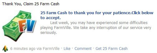 FarmVille Cash scam