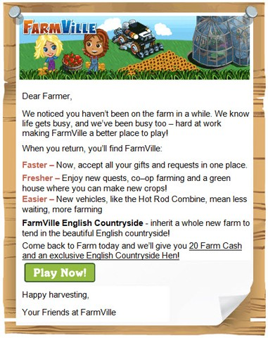 FarmVille retired player offer