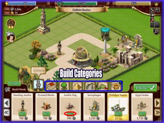 Playdom Gardens of Time Build Categories
