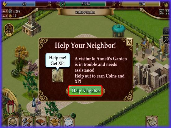Playdom Gardens of Time Help Neighbor