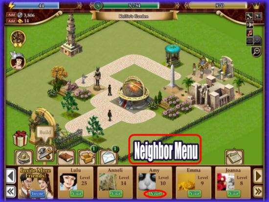 Playdom Gardens of Time Neighbors Menu