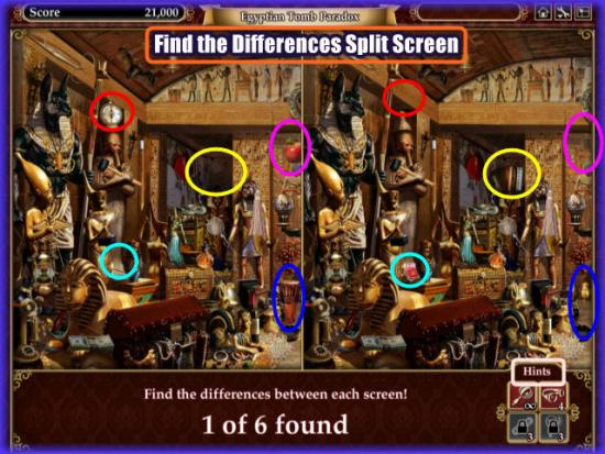 Playdom Gardens of Time Split Screen Find Differences