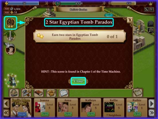 Playdom Gardens of Time 2 Star Egyptian Tomb Paradox