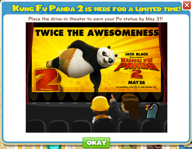 cityvillekungfu1 Kung Fu Panda 2 belly flops into CityVille with in game promotion