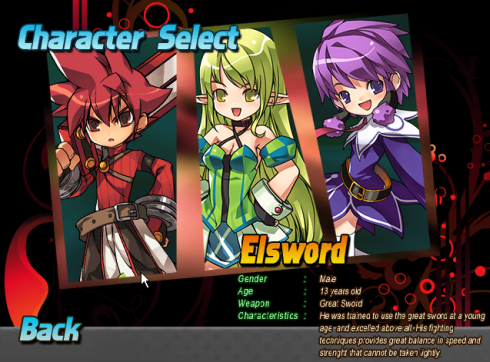 'Trials of Elsword' character menu