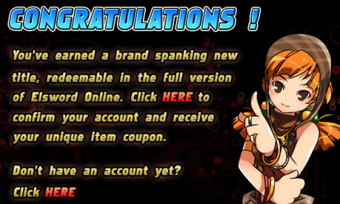 'Trials of Elsword' Congratulations redeem item