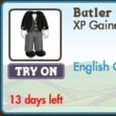 FarmVille LE English Countryside Avatar Clothing: Butler and Royal Guard Costumes