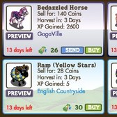 FarmVille Animals: Bedazzled Horse, Fame Pig, Spots and Stars Rams