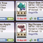 FarmVille GagaVille Trees: Big Chrome Apple, Big Chrome Cherry and Gem Fruit Trees
