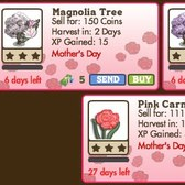 FarmVille Mother's Day Seeds & Trees: Magnolia Trees & Pink Carnation Crop