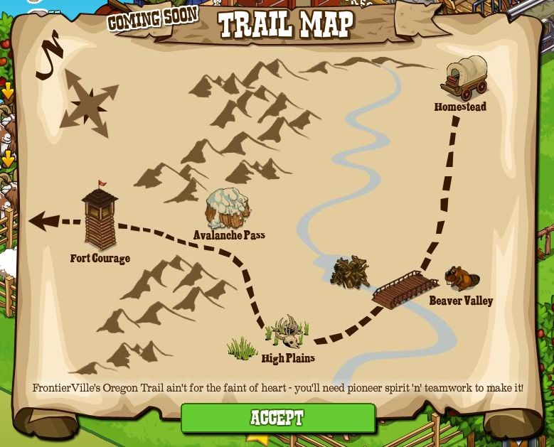 FrontierVille Oregon Trail Map
