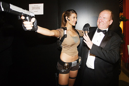 Ian Livingstone with Lara Croft