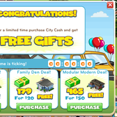 CityVille: Earn a free gift with City Cash purchase