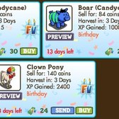 FarmVille Birthday Animals: Candycane Ram, Candycane Boar and Clown Pony