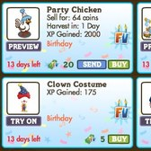 FarmVille Birthday Items: Clown Costume, Birthday Hat, Party Chicken and more