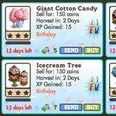 FarmVille Birthday Trees: Giant Cotton Candy, Giant Snowcone and Ice Cream Trees