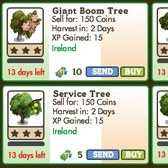 FarmVille Irish Trees: Giant Boom, Giant Gorse, Service and Wild Service Trees