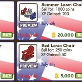 FarmVille July 4th Decorations: Summer Lawn Chairs, Festival Table and more