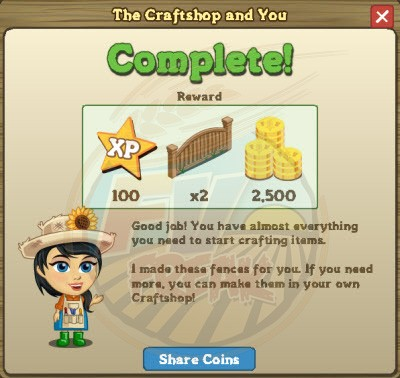 FarmVille Craftshop Goal 1 rewards